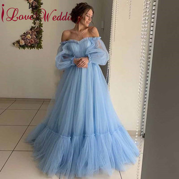 New Arrival 2019 Boat Neck Tulle Evening Dresses Custom made Long Sleeves A Line Blue Tulle Formal Evening Gown