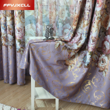 New Pastoral Printed Castle Window Tulle Curtains For living Room/ Bedroom Blackout Curtains Window Treatment /drapes Home Decor