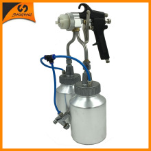 95V ningbo new type hot on sales chrome paint single head double nozzle spray gun