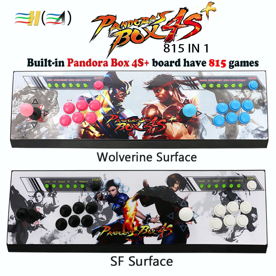 Pandora's box 4s 815 games usb arcade joystick 2 players button with led light KOF/SF/Wolverine sticker HDMI / VGA console to TV arcade joystick gamepad kit 800 games in 1 video tv jamma 2 joystick vga hidmi metal double stick arcade console with 2players