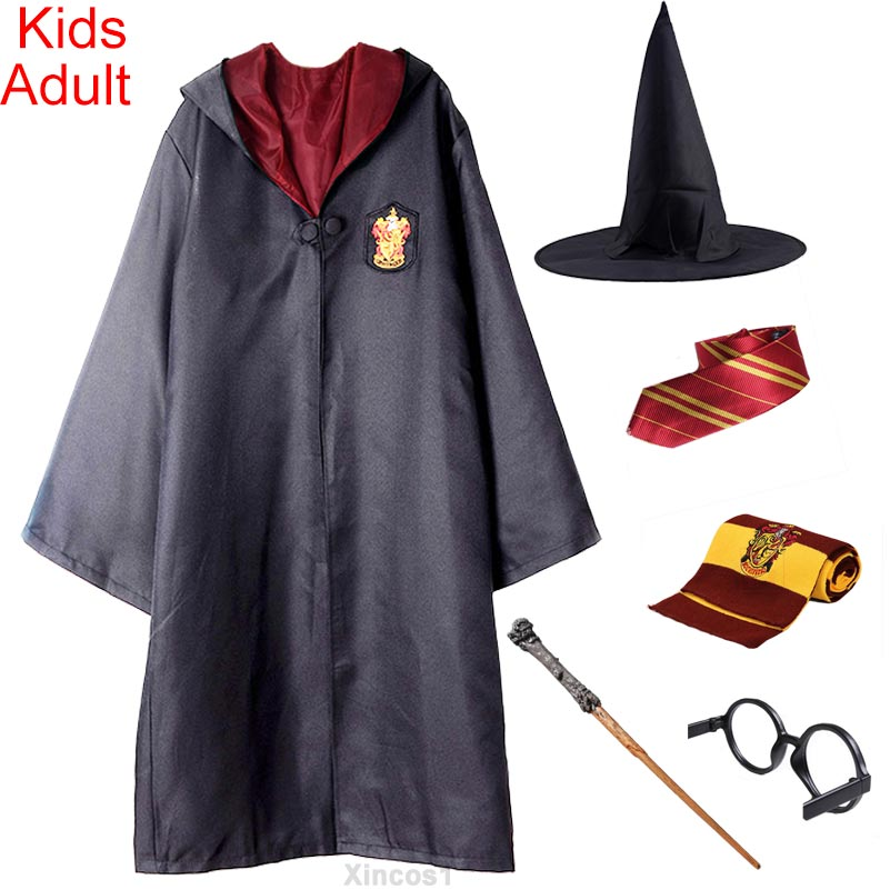 Halloween Costume For Kids Adult Gryffindor Robe Cloak Tie Scarf Wand Ravenclaw Hufflepuff Slytherin For Harris Potter Cosplay(China)