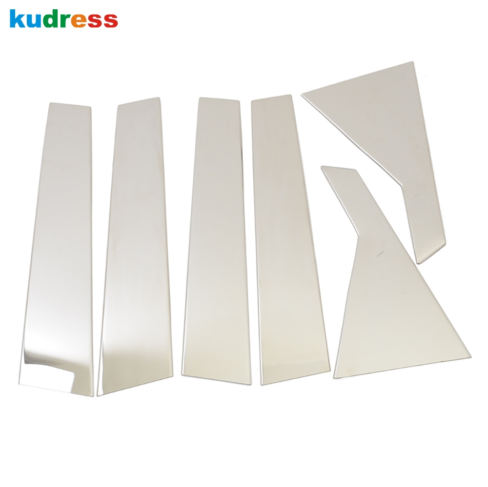 For Hyundai Santa Fe 2013 2014 Stainless Steel Window Auto Center Pillar B+C Window Decoration Trims Car Styling Stickers 6pcs car styling 26pcs stainless steel full window frame molding trims set with center pillars for ford kuga escape 2013 2014 2015
