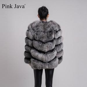 Image 4 - ורוד java QC8066 באיכות גבוהה נשים אמיתי שועל פרווה מעיל wihter חם עבה שועל פרווה מעיל אמיתי פרווה קצר מעיל ארוך שרוולים