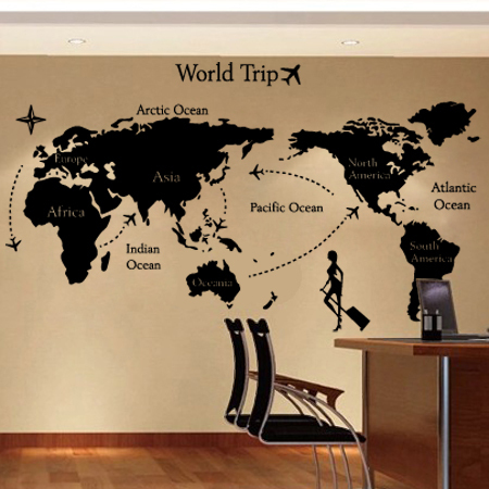 Online Shop 2015 New arrival Large Size World Map PVC Wall Stickers ...