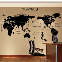 2015 New arrival Large Size World Map PVC Wall Stickers Mural Art Office Wall Decals Home Decoration