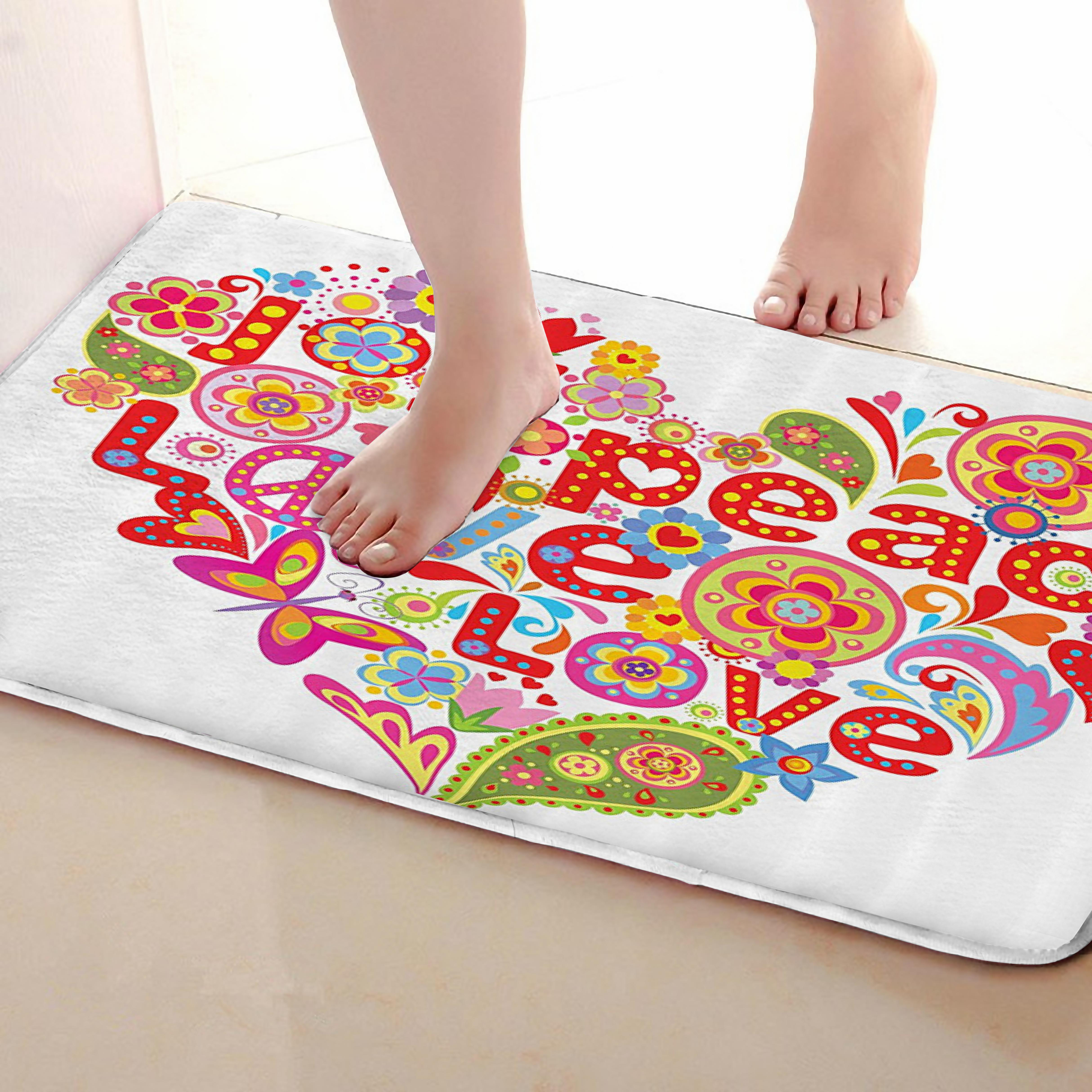 Heart Style Bathroom Mat,Funny Anti Skid Bath Mat,Shower Curtains Accessories,Matching Your Shower Curtain