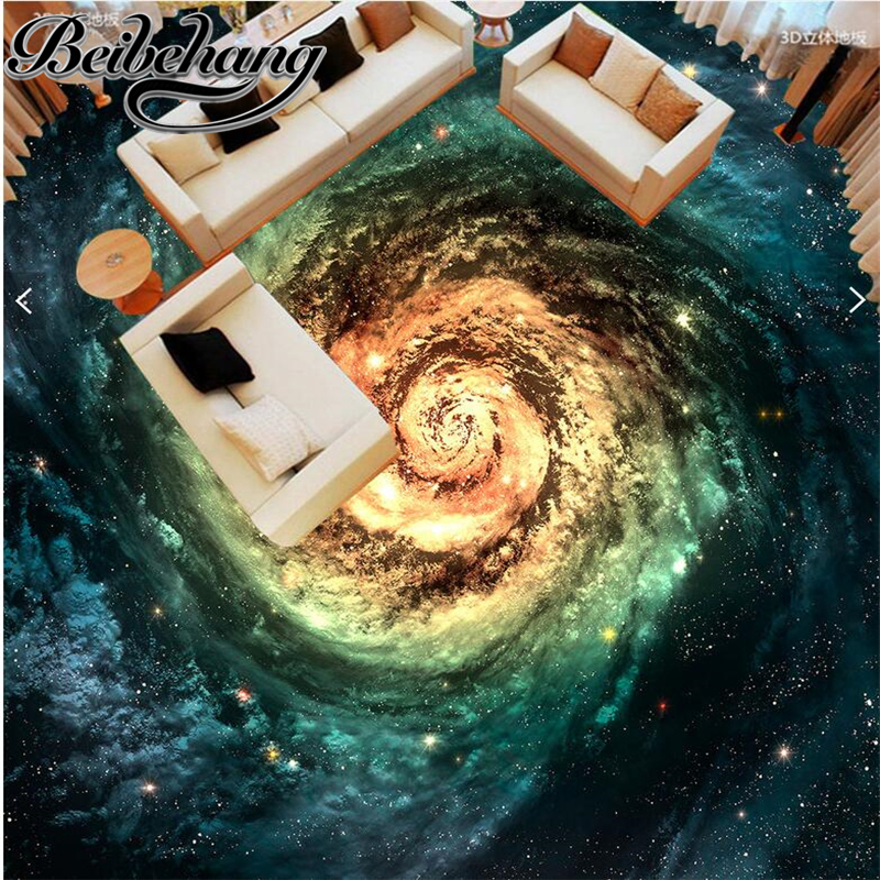 beibehang The living room of the room is customized according to the width of the cosmic starry galaxy whirlpool 3D floor tiles resemblance of cloud and grid computing according to time base