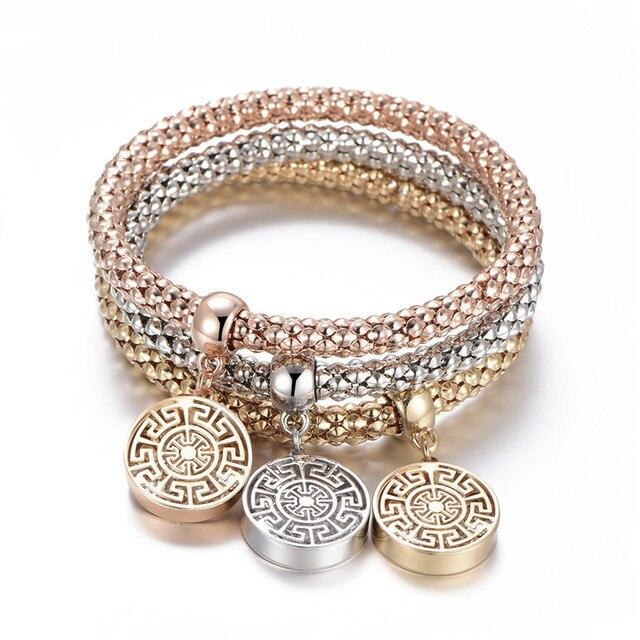 3Pcs Tree of Life Bracelet Popcorn Owl Heart Anchor Musical Note Charm Bracelets For Women Pulseria Feminina Boy & Girl Jewelry 4