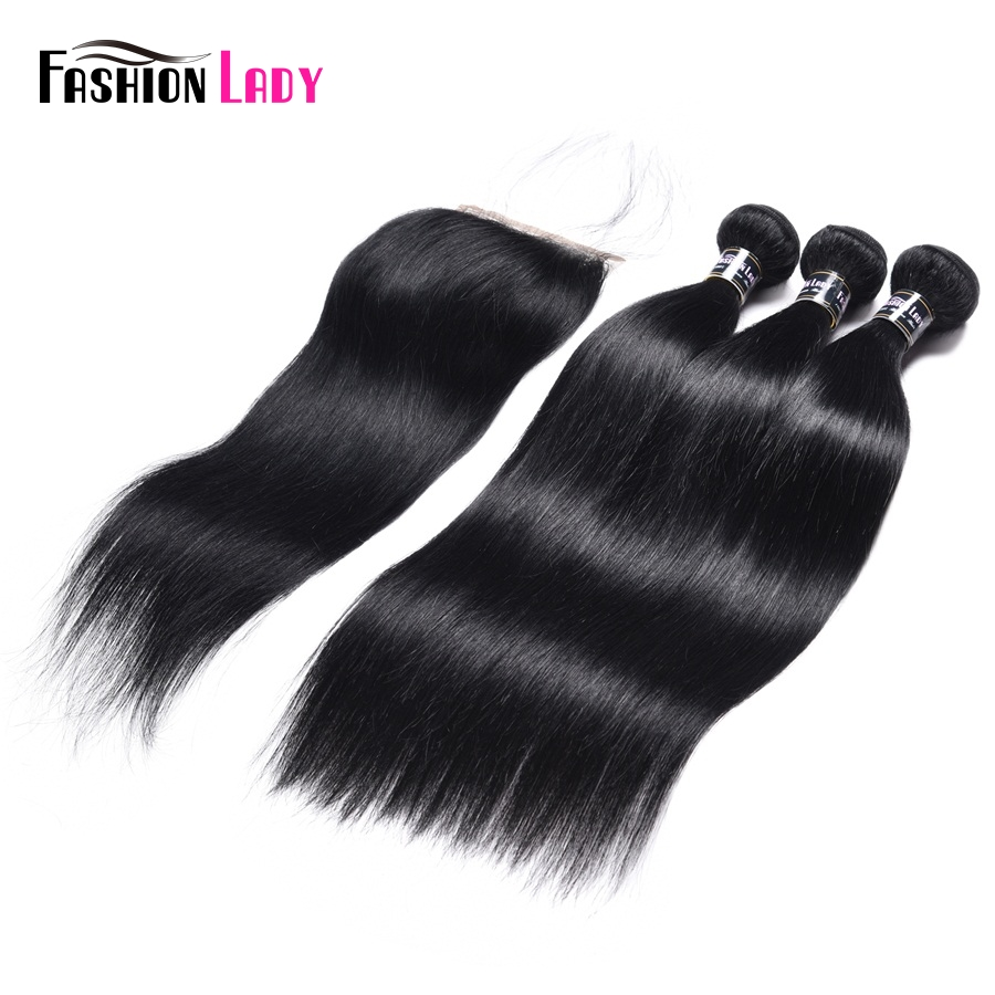 Fashion Lady Pre-Colored Malaysian Human Hair Bundles 3 Bundles With Lace Closure 1# Jet Black Free Part Straight Non-Remy Hair
