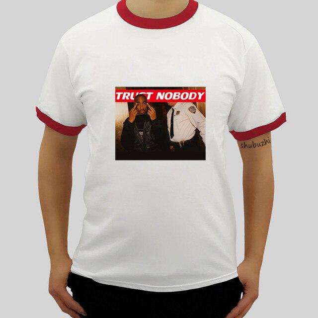 ed137fa7cb8 Rapper Tupac Shakur Tee 2Pac Trust Nobody Tee T Shirt Mens ringer Shirt  Round Neck cotton Brand raglan T-Shirts drop shipping