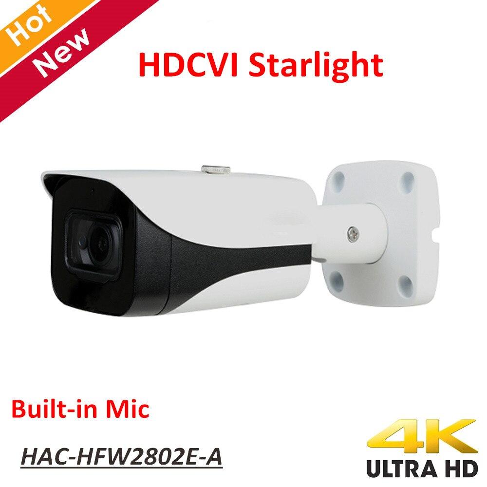 Nouveau DH 4 k Starlight HDCVI Caméra Smart IR Dôme Caméra Vidéo Résolution 8MP Construit en Mic IP67 Coaxial Caméra HAC-HFW2802E-A