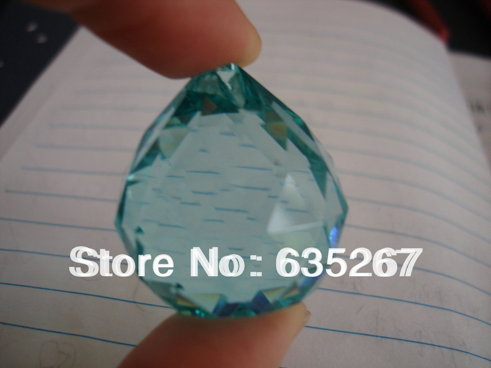 4PCS/lot, aquamarine ,40mm crystal faceted ball,crystal chandelier ball parts for wedding& fengshui products ,X-MAS decoration