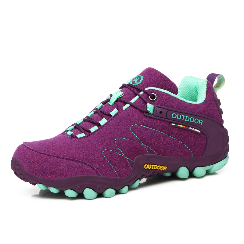 ФОТО 2016 Hiking Shoes Women Trekking Boots Autumn/Winter Outdoor Shoes Women Climbing Sneakers Leather Sport Shoes Red/Purple Boots