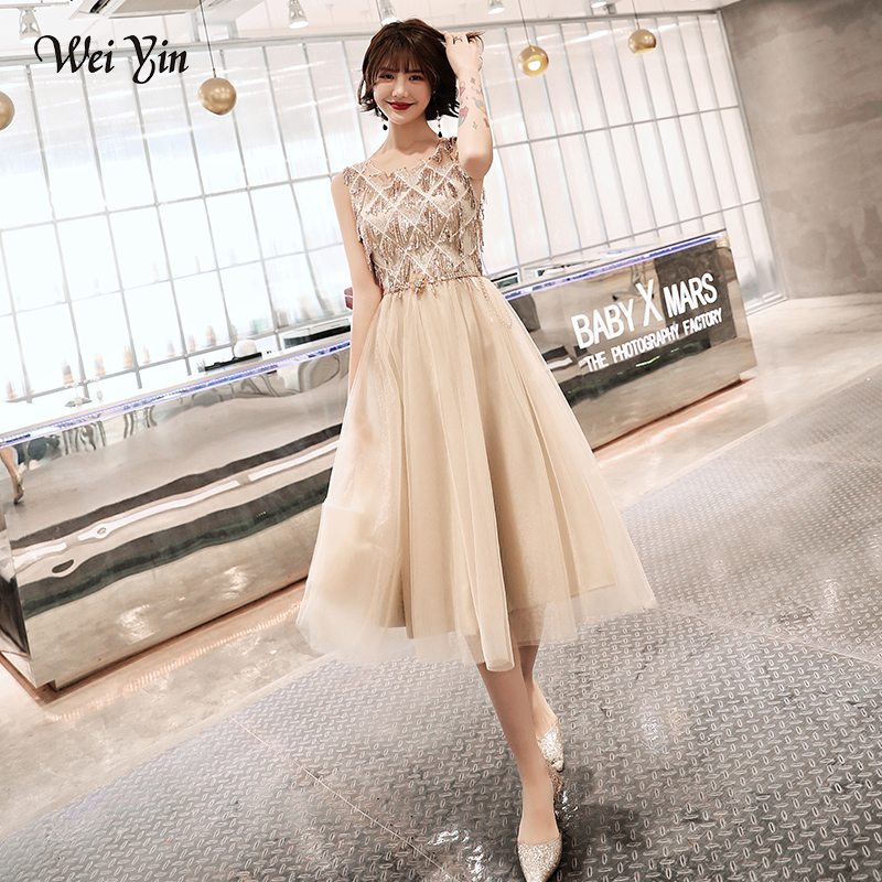 Wei Yin 2019 Champagne Plus Size Evening Dress Elegant O-Neck Tassel Tulle Formal Evening Gown Party Dress Robe De Soiree WY1684