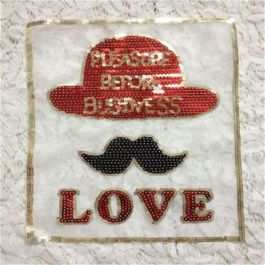 sequins beard brand iron on patches for clothes Sew-on embroidered patch motif applique deal with it clothing Christmas gift