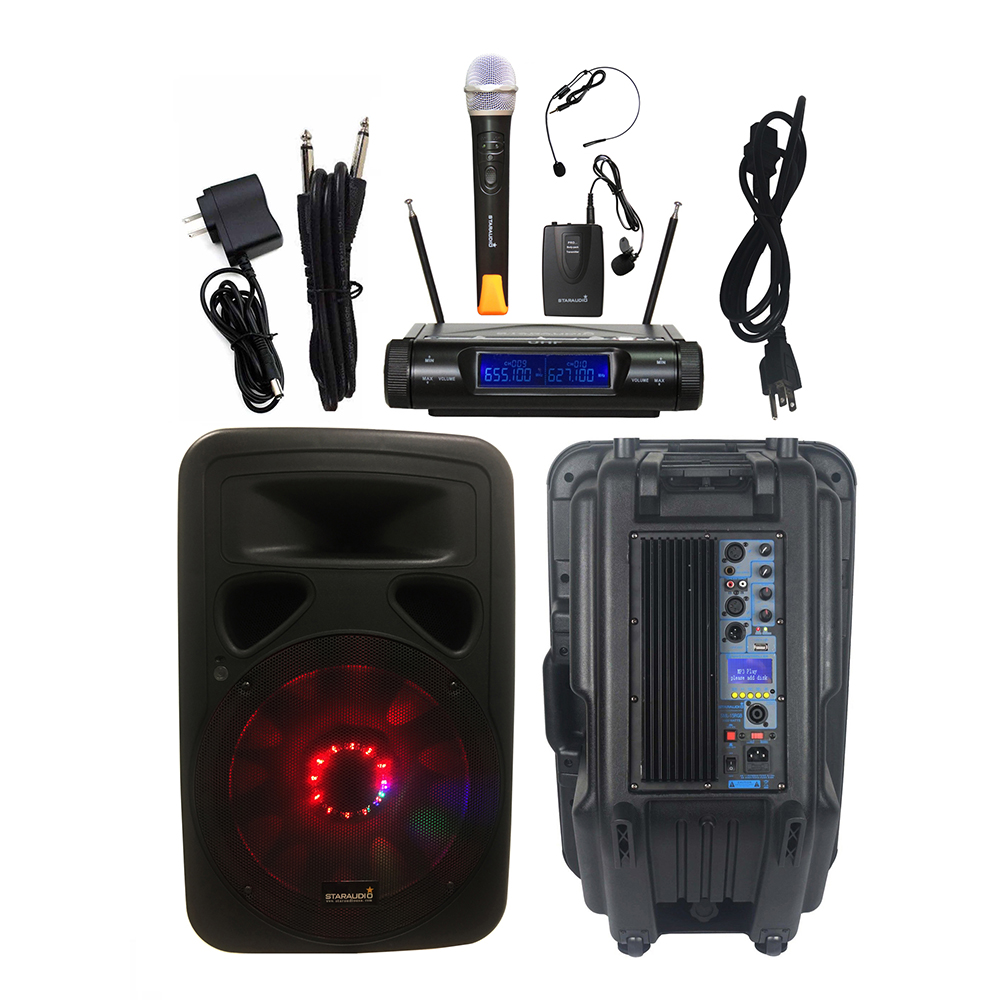 STARAUDIO 15 pouces 3500 W Audio alimenté DJ PA haut-parleur KTV scène partie haut-parleur lumineux LED 2CH UHF sans fil portable micro SML-15RGB