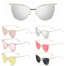 Retro Cat Eye Sunglasses Women Brand Designer Fashion Metal Frame Mirror Cateye Sun Glasses For Female UV400  New