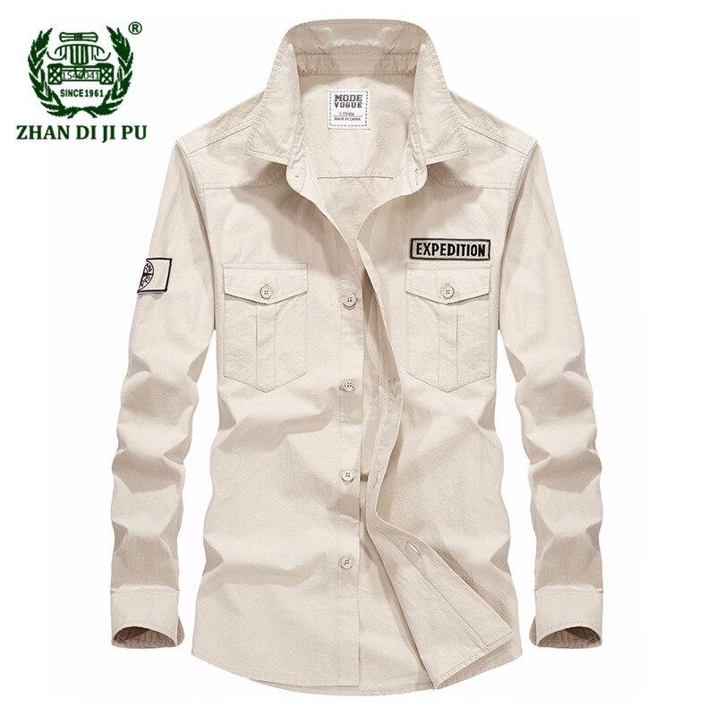 2018 Autumn mens business casual brand 100% pure cotton khaki shirt man spring afs jeep white tops dark blue long sleeve shirts