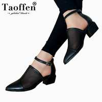 TAOFFEN Brand New Size 34 40 Genuine Leather Black Women Shoes Fashion Woman Sandals Nature Cow Leather Black Party Shoes