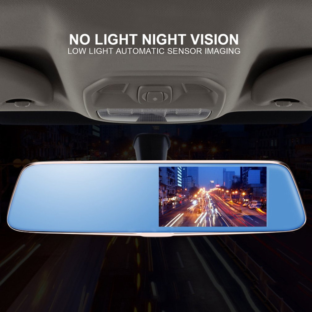 2018 Universal 5 Inch HD 1080P Rearview Mirror Car DVR Dual Camera with Wide Angle Support Night Vision without Light Hot sale novatek 96655 rearview mirror camera car dvr full hd 1080p rear view mirror with dvr and camera night vision video dual recorder