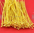 200PCS Gold Plated Brass Ball End Head Pin 40mm - Wholesale DIY Accessory Jewelry Making