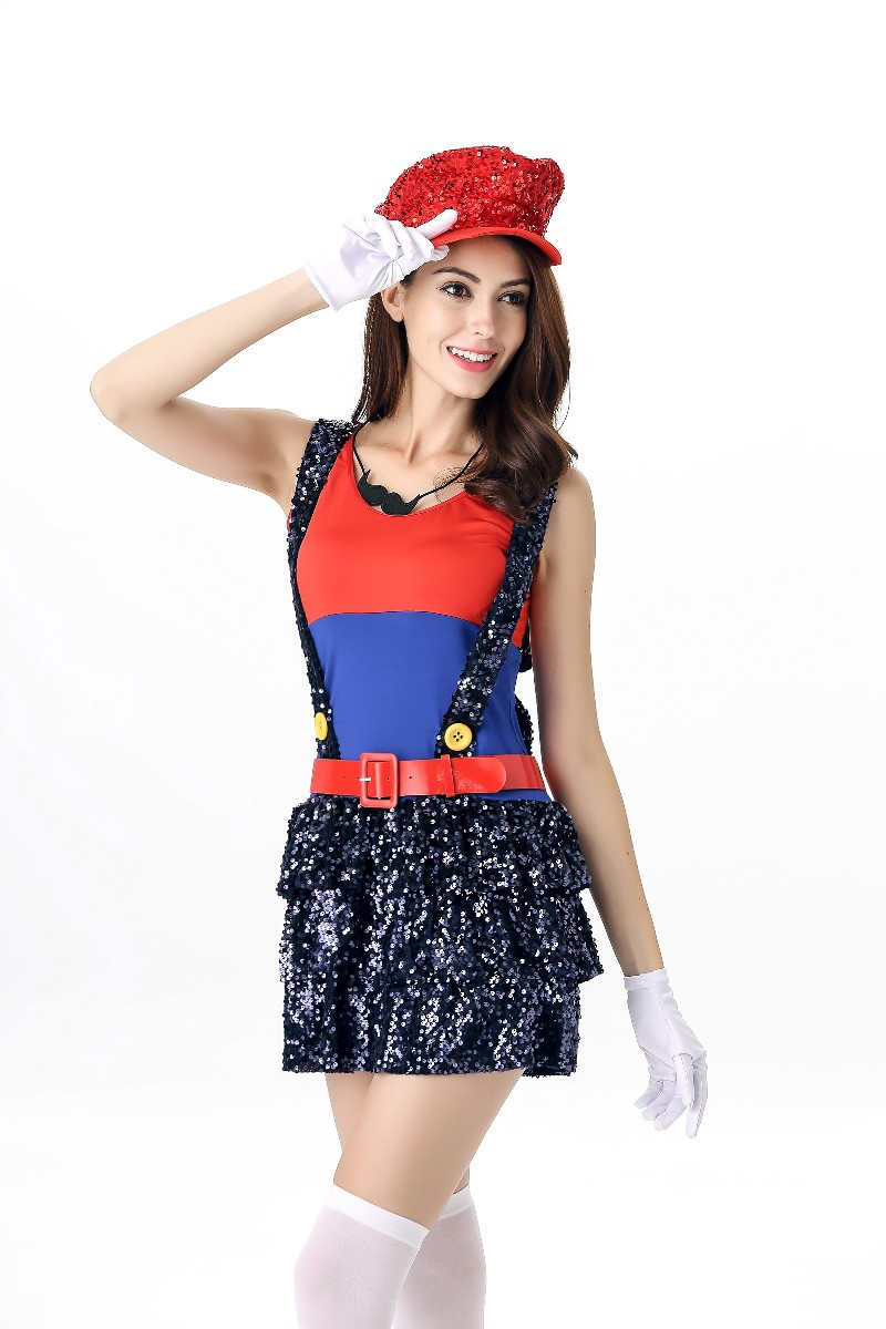 Halloween Ladies Super Mario Costume Luigi Brother Plumber Fancy Dress