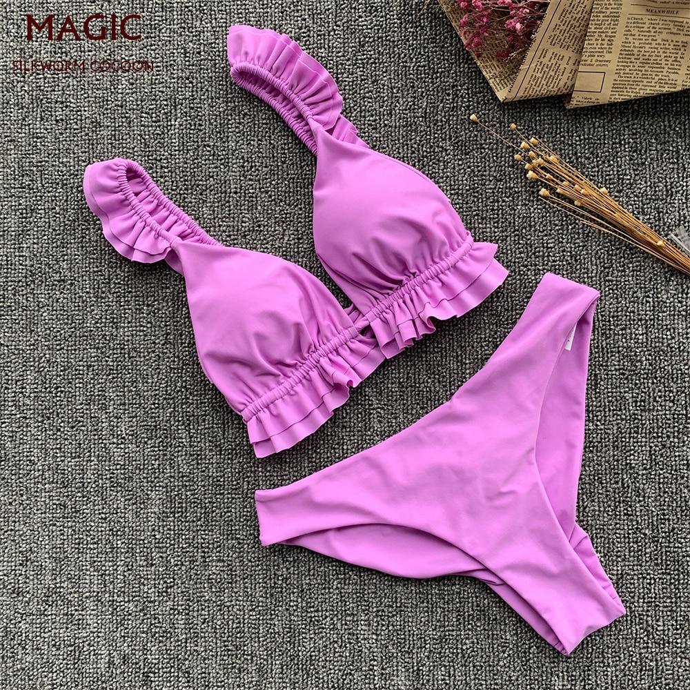 Purple Bikini Brazilian Women Swimsuit Ruffle Shoulder Bikini Set Low Waist Bandage Swimwear Swimming Suit Bathing Suit New