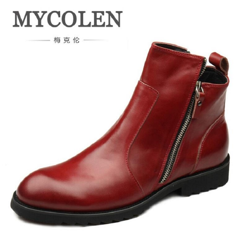 MYCOLEN Brand Men High Quality Cow Leather Ankle Boots Male Winter Fashion Casual Party Shoes Genuine Leather Red Wine Boots northmarch brand ankle snow boots men shoes genuine leather winter fashion cow motocycle casual boot male high top flat botas