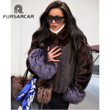 FURSARCAR 2019 New Real Mink Fur Coat Women Natural Genuine Female With Turn-down Collar And Silver Fox Cuff