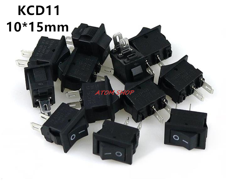 10pcs KCD11-101 3A/250V small black 10*15mm SPST 2PIN ON/OFF G130 Boat Rocker Switch Car Dash Dashboard Truck RV ATV Home 4pcs lot 20mm 3pin on off on g115 round boat rocker switch 6a 250v 10a 125v car dash dashboard truck rv atv home