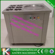 220 v 110 V R410a Un molde redondo con 6 cubos de hielo alevines sartén máquina, frito máquina de helados, rollos de pan de hielo alevines