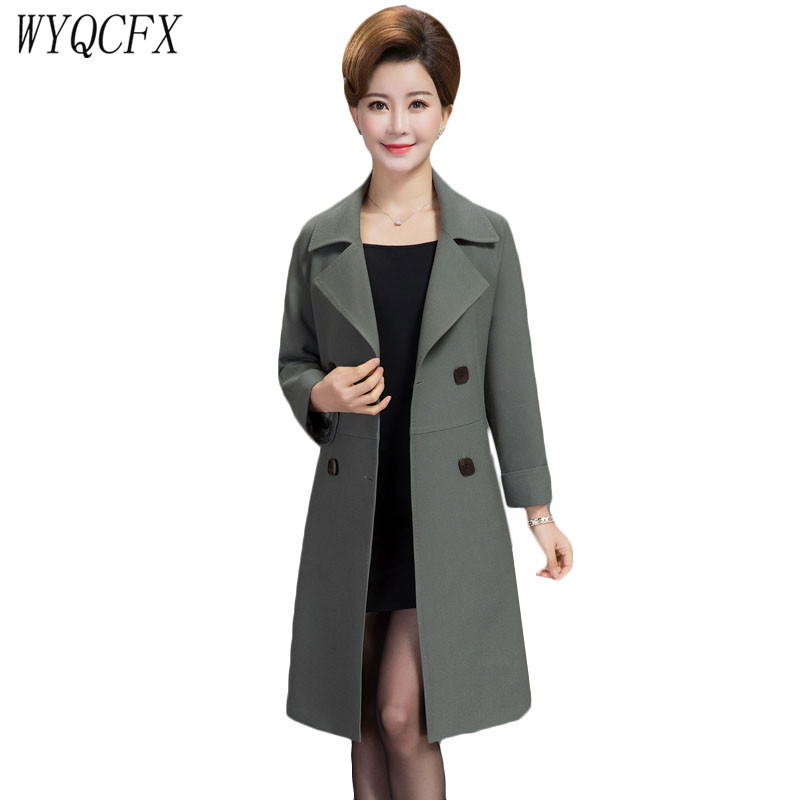 2019 Spring Autumn   Trench   Coat Women New Double-breasted Windbreaker Middle Age Slim Medium Long Elegant Outerwear Plus Size