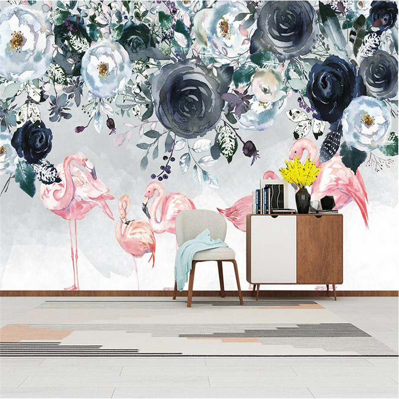 Custom 3d Wall Murals Flamingo Rose Photo Wall Embossed Non-Woven TV Background Wall Mural Wallpaper Living Room Restaurant shinehome classical rose music embossed photo wall paper room wallpaper 3d for livingroom 3 d wall roll background murals rolls