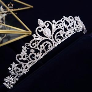 Image 3 - נסיכה high end מלכת מלא זירקון מצנפות כתרים עבור כלות פניני חתונת Hairbands קריסטל חתונה שמלת אביזרי