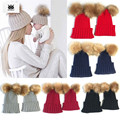 ROMIRUS Baby Pompom Hat Winter Mom And Baby 2 Pcs Fur Hats bonnet touca bebe Beanies Knitted Caps casquette chapeu inverno bebe