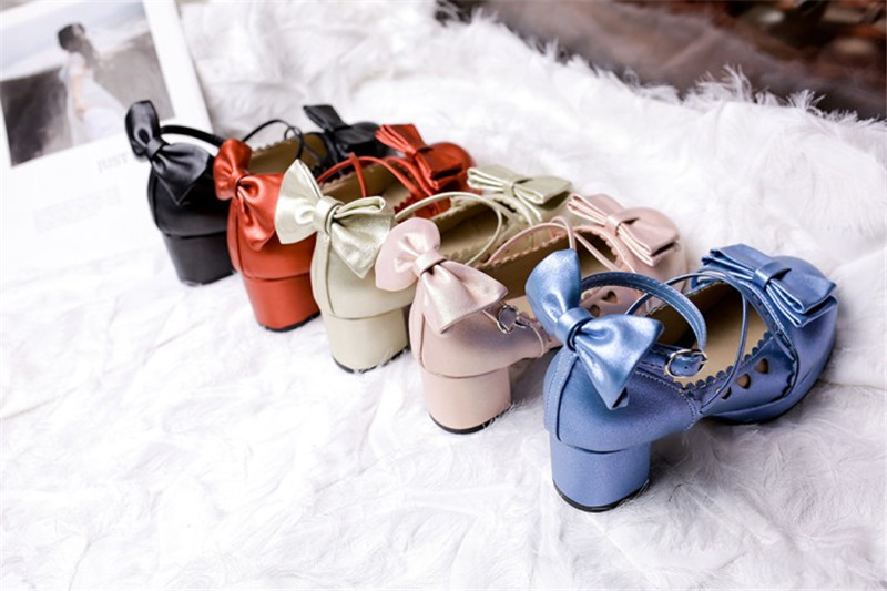 Big Size 30-48 Women Pumps Japanese Princess Lolita Shoes Sweet Bow Cross Straps High Heels Mary Janes COSPLAY Female Shoes Gold (5)