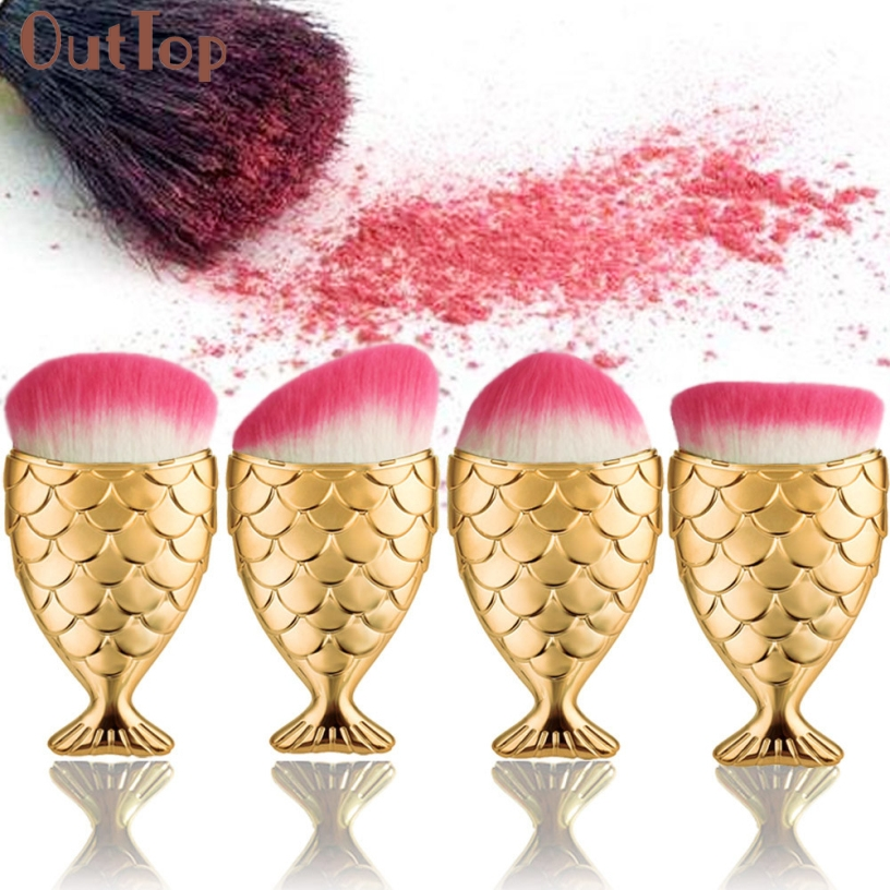 OutTop Best Deal New Fashion Fish Scale Makeup Brush Fishtail Bottom Brush Powder Blush Makeup Cosmetic Brushes Tool 4PCS/set outtop best deal new good quality pink colour sponge puff 24 pcs cosmetic makeup brushes foundation brushes tool 1 set