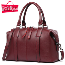 BVLRIGA Luxury Handbag Women Bag Designer Genuine Leather Handbag Women Famous Brand Crossbody Shoulder Messenger Bag Wine Red