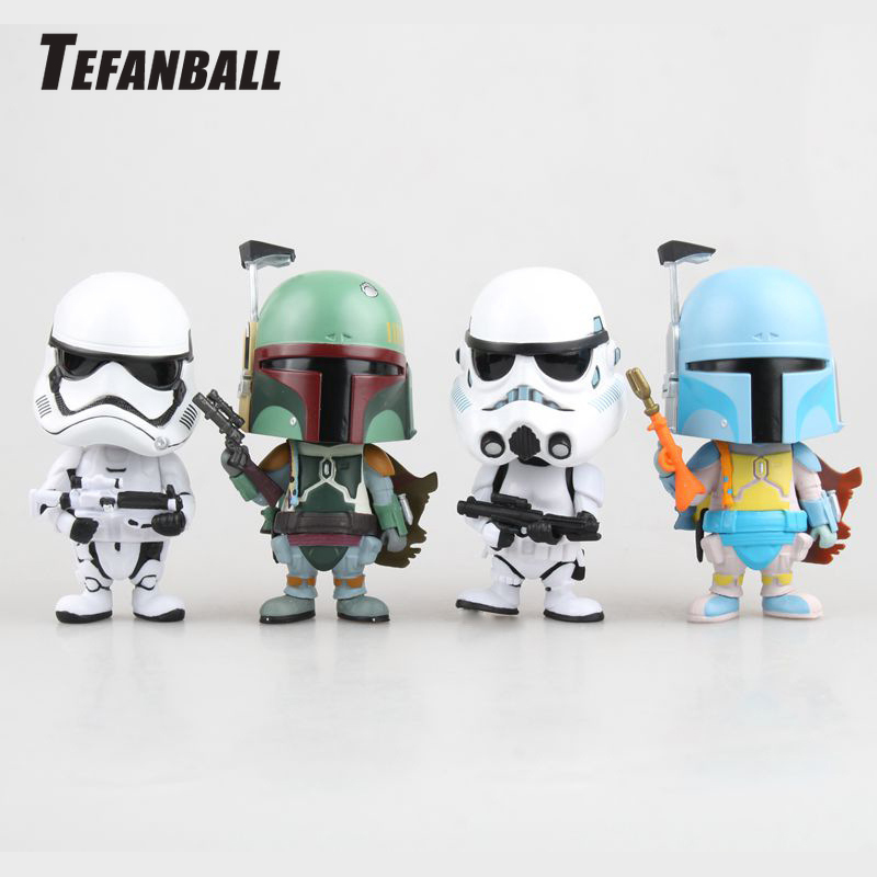 Car Ornament Cute Decoration Shaking Head Doll For Star Wars Stormtrooper Boba Fett Action Figure Auto Interior Bobblehead Toys-in Ornaments from Automobiles & Motorcycles