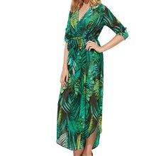 Для женщин Мода шифон Глубокий v-образным вырезом элегантное платье-рубашка palm Leaf Print Повседневное пляж нерегулярные Платья для женщин