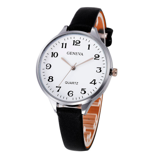 Gofuly Quartz Watch Ladies Fashion Thin Leather Strap Casual Dress Watch Hours F