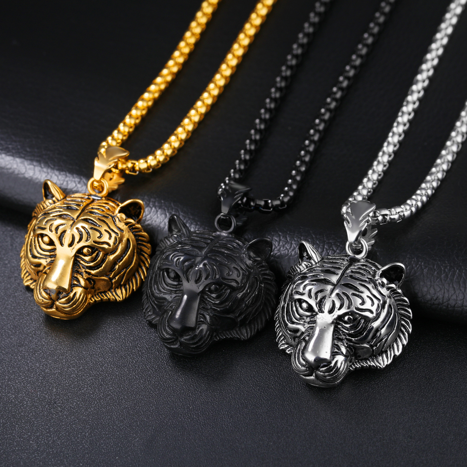 steel charms lockets tribal blue s pendant floating product necklace red for glass store wolf pendants tooth stainless men male crystal
