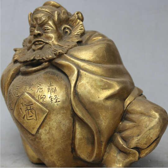 """WBY---503 + + + 6 """"Chinese Kuningan Zhong Kui ChungKuel Abadi Dewa Minum Anggur Exorcism Statue"""