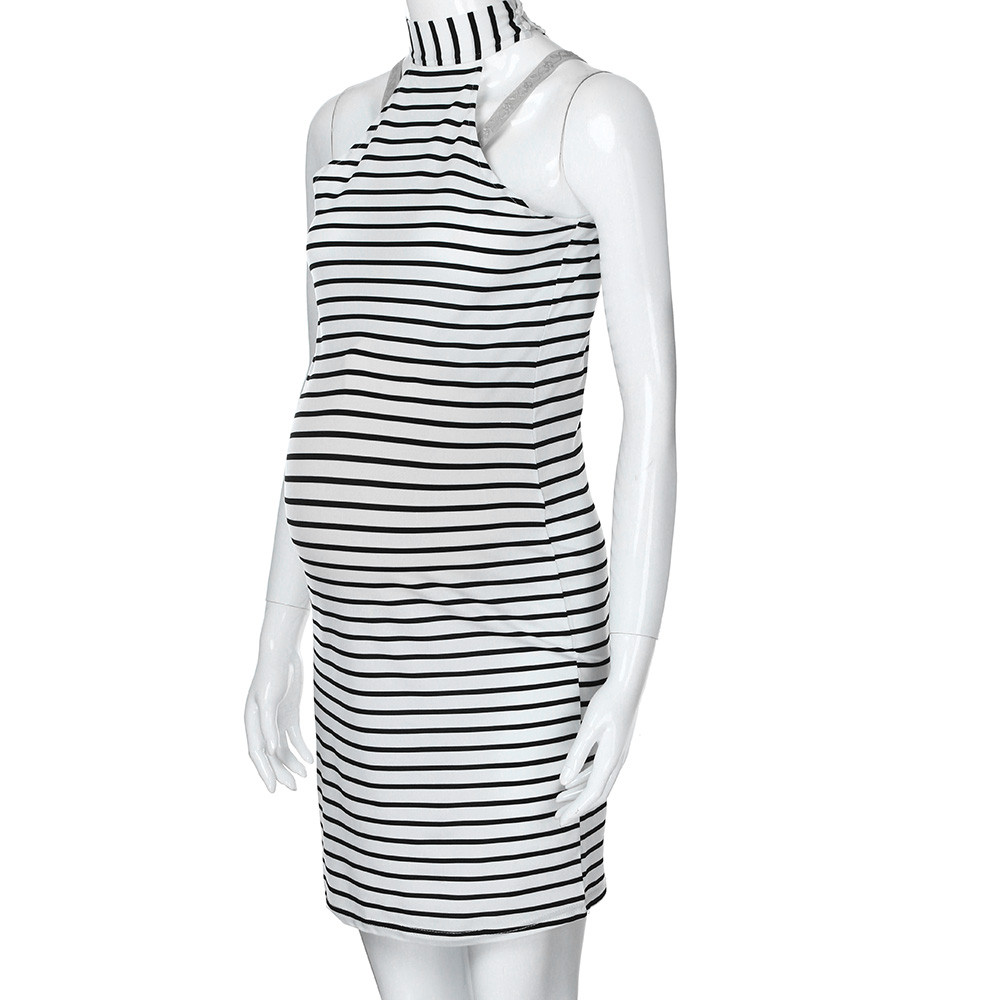Womens Maternity Dress Pregnants Nursing Baby For Maternity Stripe Sexy Pregnancy Mini Dress Clothing Mother Home Clothes vestid 7