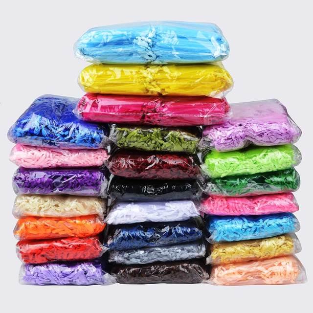 500 sztuk/partia hurtownie torby z organzy 7x9 9x12 10x15 13x18cm na prezenty ślubne opakowanie prezent torba Party woreczki na biżuterię woreczki