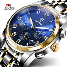 TEVISE Mens Watches Gold Automatic Watch Moon Phase Luminous Date Black Mechanical Wristwatches For Man Male Hours Luxury Clock
