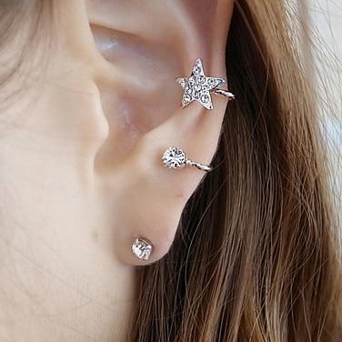 New Korean Fashion Crystal Star Earrings Ear Cuff Clip On ...
