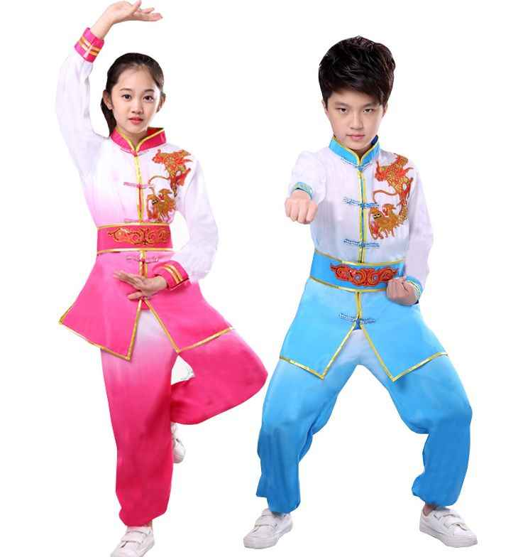 rose/blue kids embroidery dragon clothing martial arts wushu uniforms Children tai chi training suit
