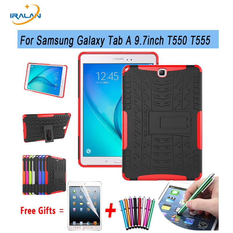 Case For SAMSUNG Galaxy Tab A 9.7 inch Tablet SM-T555 T550 555 550 Hybrid Stand Hard Silicone Rubber Armor Case Cover gift 3in1 аксессуар чехол samsung galaxy tab a 7 sm t285 sm t280 it baggage мультистенд black itssgta74 1