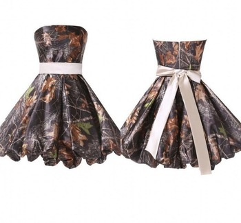 strapless camo bridesmaid dresses  short  wedding party camouflage dress  2019 new styles plus size custom make
